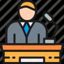 color, coworking, leader, presentation, president, speaker, tribune icon