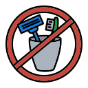 belongings, brush, no, personal, prohibit, shaver, use icon