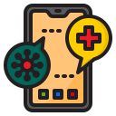 corona, coronavirus, covid19, hospital, mobilephone icon