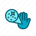 bacteria, hand, infection, microbe, organism icon