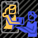 coronavirus, online, shopping icon