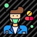 coronavirus, covid, hospital, male, pharmacist, pharmacy icon