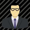 avatar, boss, glasses, head, management, suit, tie icon