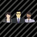 avatar, corporate, group, head, management, mixed race, team