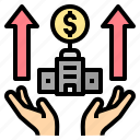 bank, benefit, business, corporate, growth, money, turnover icon