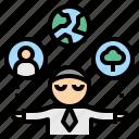 csr, business, control, responsibility, management, businessman icon