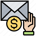 envelope, mail, money, receive, silver icon