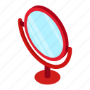 isometric, beauty, cosmetic, mirror, table, round, red