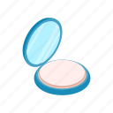 beige, face, isometric, mirror, opened, powder, sponge icon