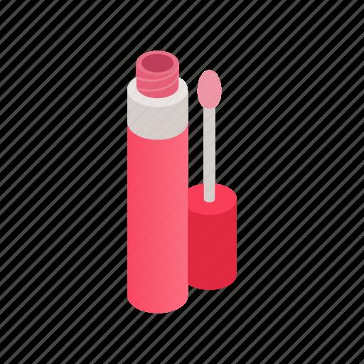 cosmetic, gloss, isometric, lip, lipstick, liquid, opened icon