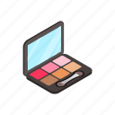 blusher, brush, isometric, mirror, set, sponge, tassel icon