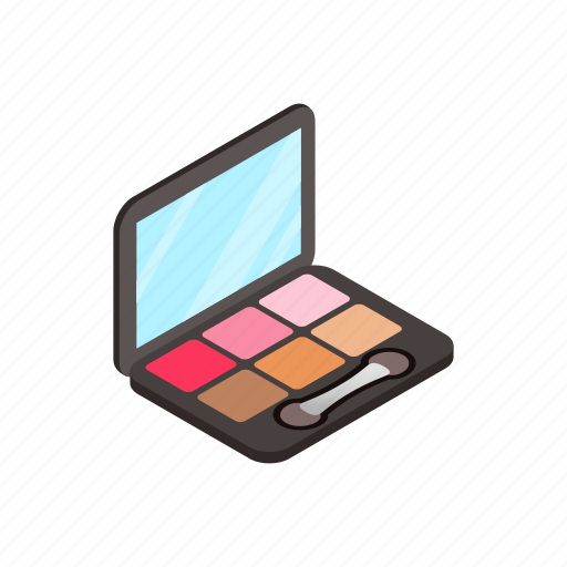 blusher, brush, isometric, mirror, set, sponge, tassel icon
