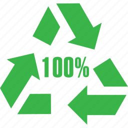 arrow, hundred, moving, percent, recycleable, recycling, reproduction icon