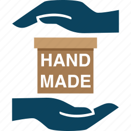 box, cared, hand, hands, made, product icon
