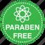 atom, clear, cosmetics, free, paraben, safe icon