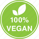 hundred, leaf, natural, percent, vegan, vegetarian icon