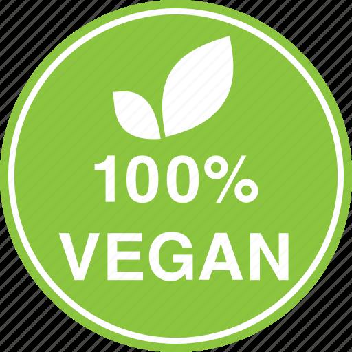 hundred, leaf, natural, percent, vegan, vegetarian icon