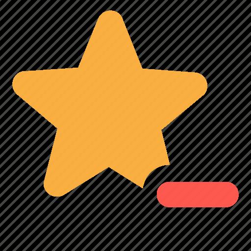 delete, favorite, remove, star icon