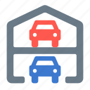 building, cars, garage, level, multi, multilevel, parking icon