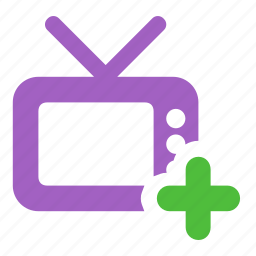 add, channel, new, television, tv icon