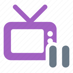 channel, pause, smart, television, tv icon