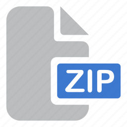 document, extension, file, zip icon