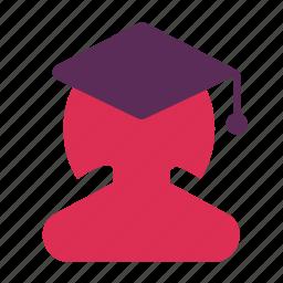 avatar, girl, graduate, student icon