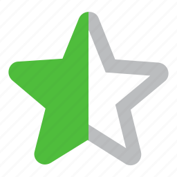 half, point, rate, rating, star icon