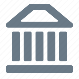 bank, building, finance, money, pillars icon