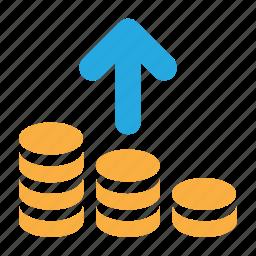 cash, coins, deposit, finance, money, payment, send icon