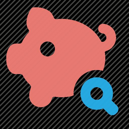 bank, finance, find, money, piggy, request, search icon