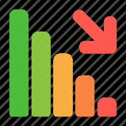analytics, chart, finance, graph, recession, statistics icon
