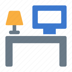 computer, desk, icojam, lamp, vacancy, workplace, workspace icon