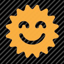 emoticon, face, happy, sun, sunny icon