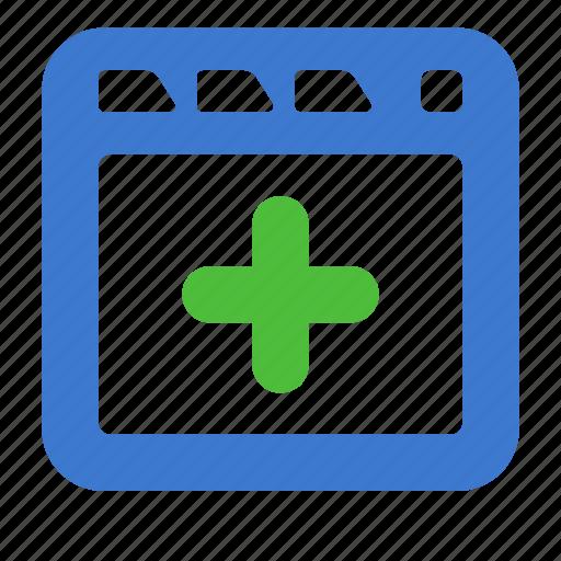 add, app, browser, new, site, web, window icon