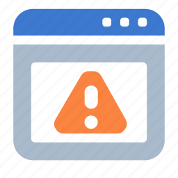 app, attention, browser, warning, web, window icon