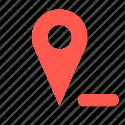 delete, gps, location, pin, remove icon