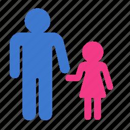 child, daughter, father, parent, parent control icon