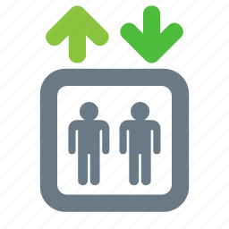 down, elevator, lift, passenger, up icon