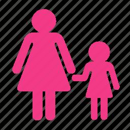 child, daughter, mother, parent, parent control icon