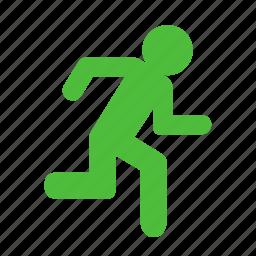 evacuate, exit, quit, run icon