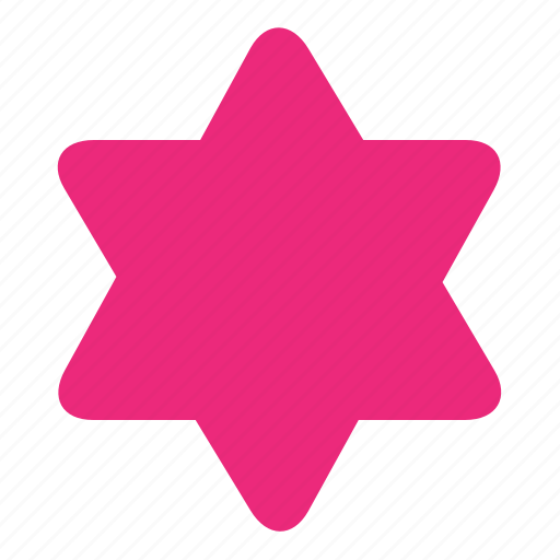 figure, hexagonal, rounded, shape, star icon