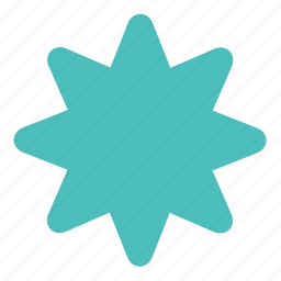 figure, form, octagonal, rounded, shape, star icon
