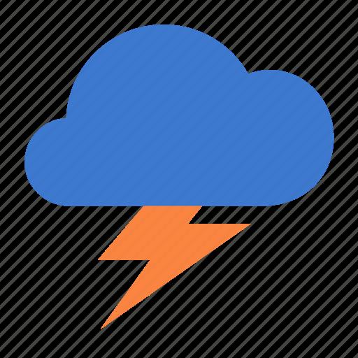 cloud, forecast, lightning, weather icon