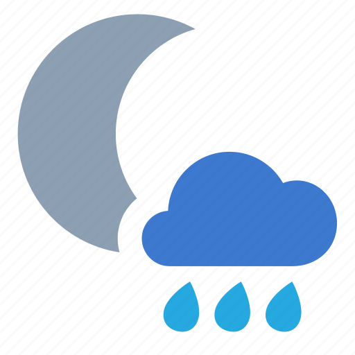 cloud, forecast, night, rain, weather icon
