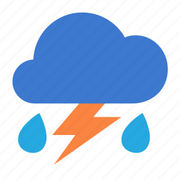 cloud, forecast, lightning, rain, weather icon
