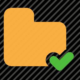 accept, check, documents, folder, ok icon