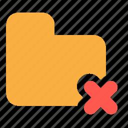 cancel, delete, documents, files, folder icon