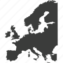 europe, map, continents, countries, country, location, continent icon