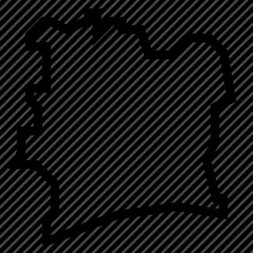 coast, ivory, map icon